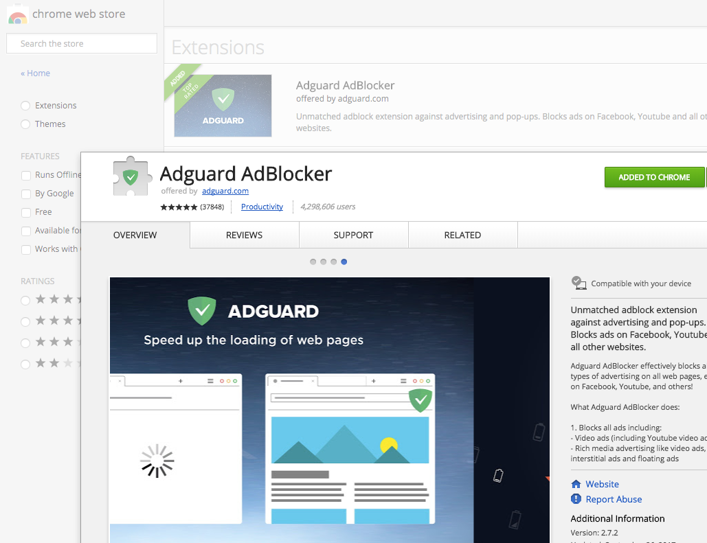 AdGuard in Chrome WebStore