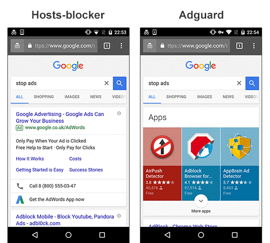 Adguard vs AdAway (and other hosts-based ad blockers - DNS66