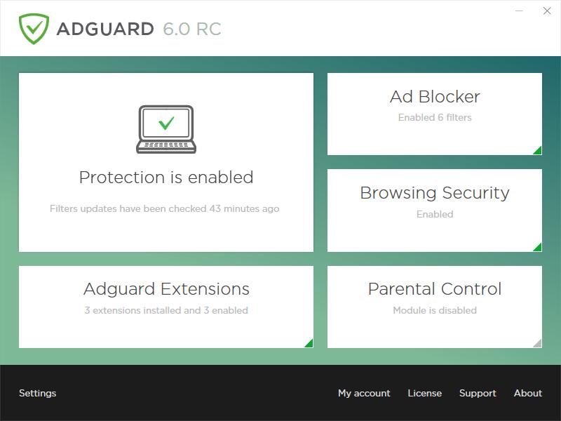 Adguard 6.0 Main Window