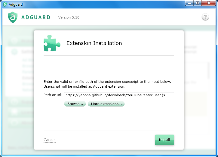 Adguard Extensions Settings