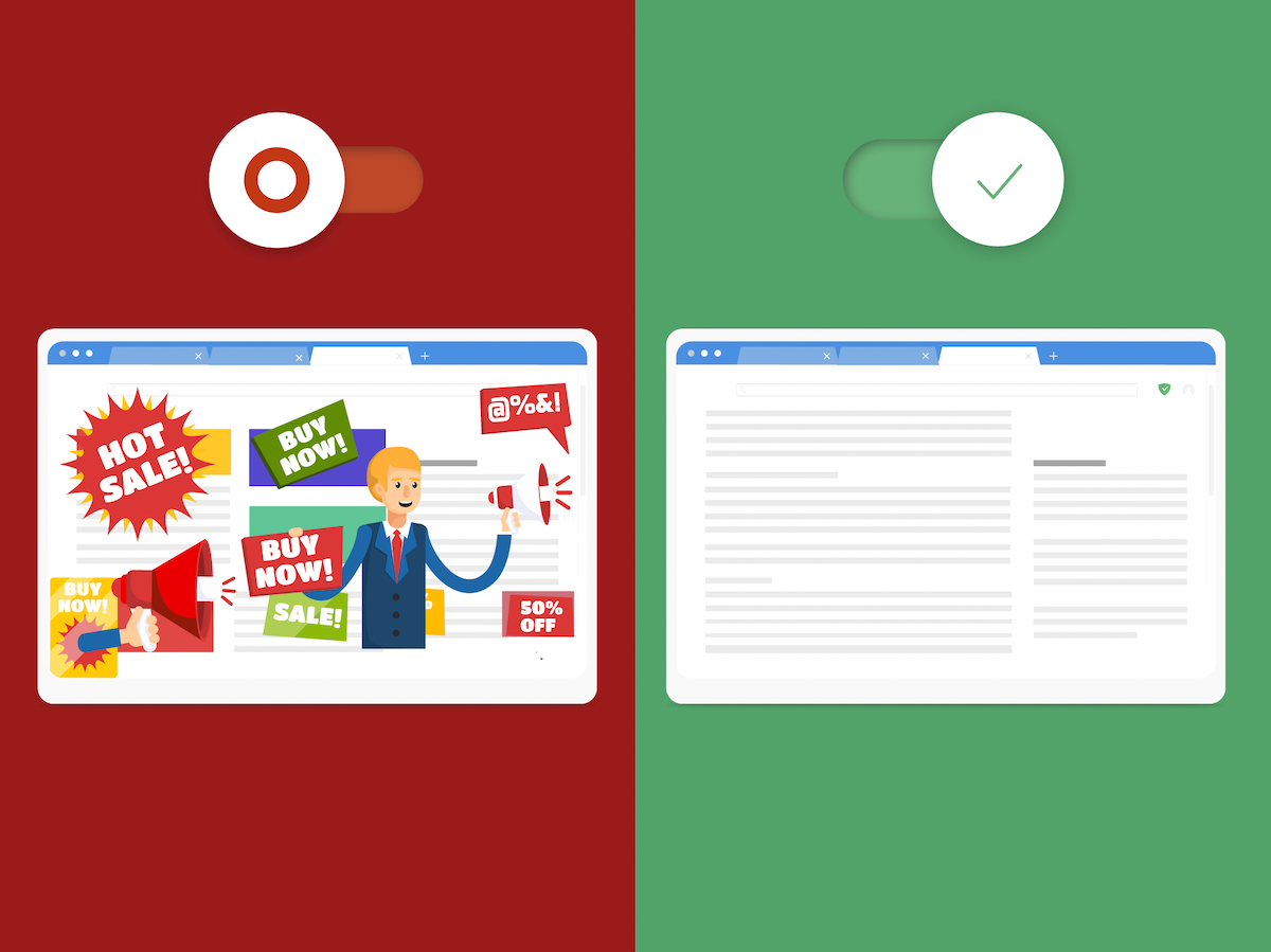 The Internet with and without ad blocker