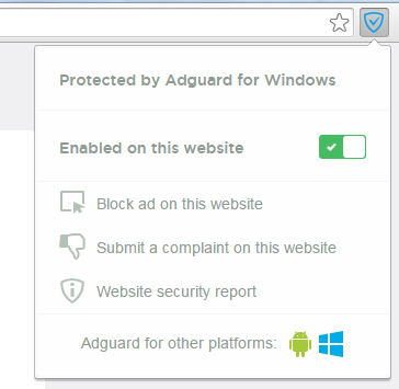 Wensite filtered by Adguard for Windows