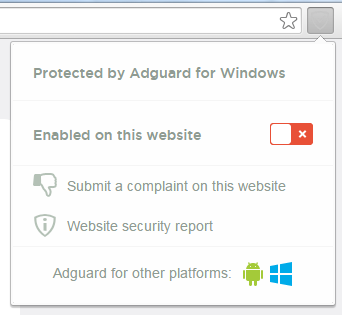 Website filtered by Adguard for Windows