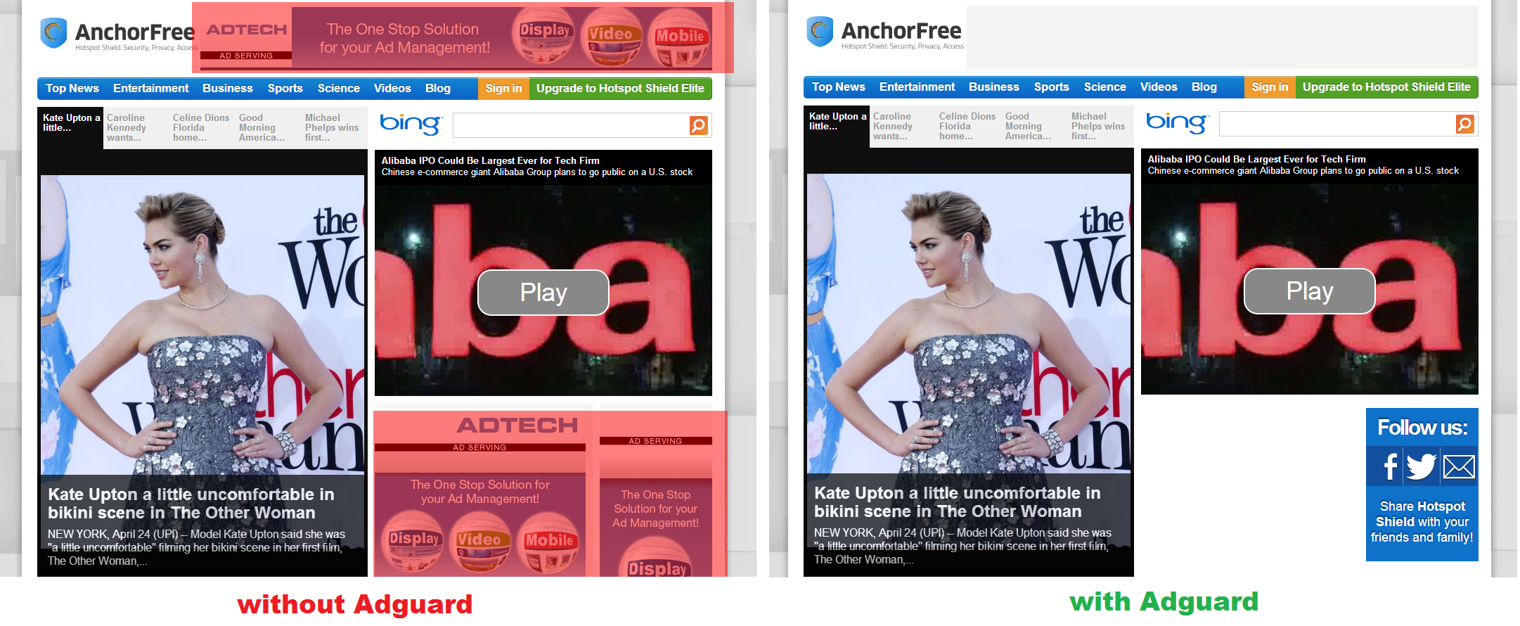 Block ads in AnchorFree