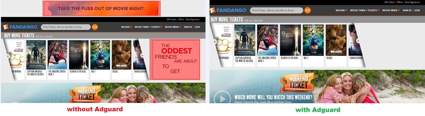Block ads in Fandango