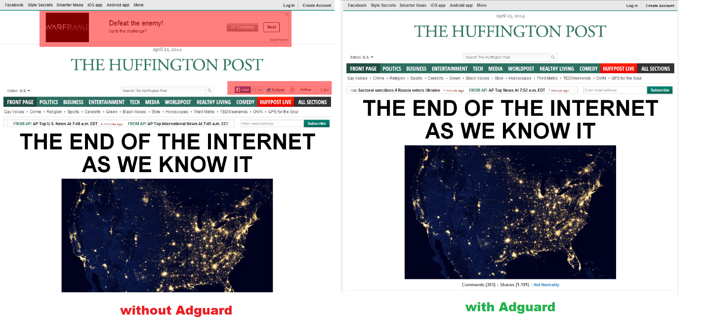 Block ads in Huffington