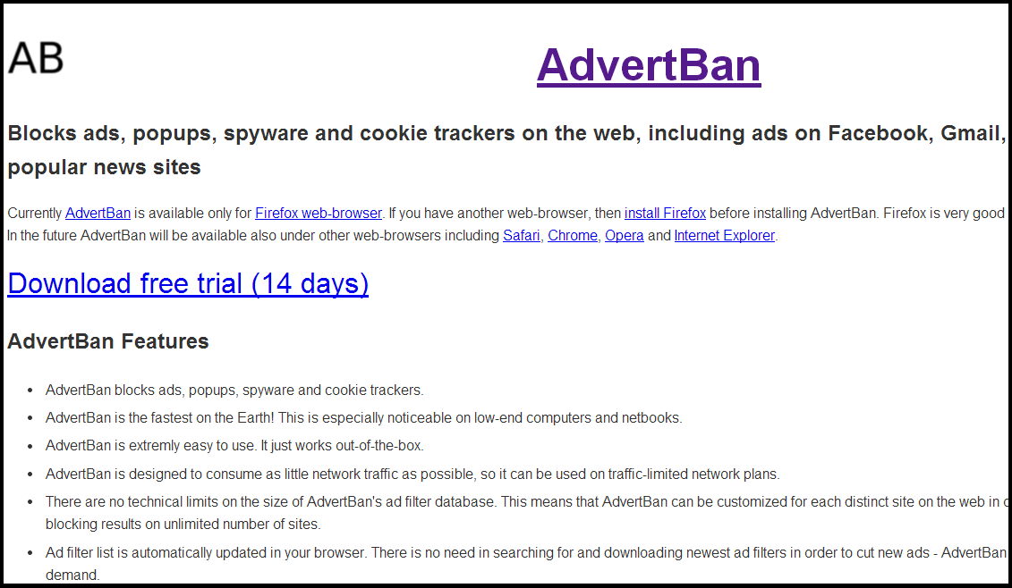 Block the online ads in browser AdvertBan