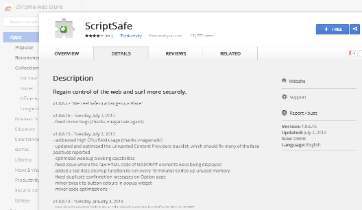 ad blocking extension ScriptSafe