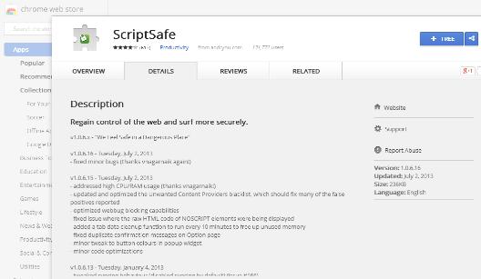 Блокиратор рекламы ScriptSafe