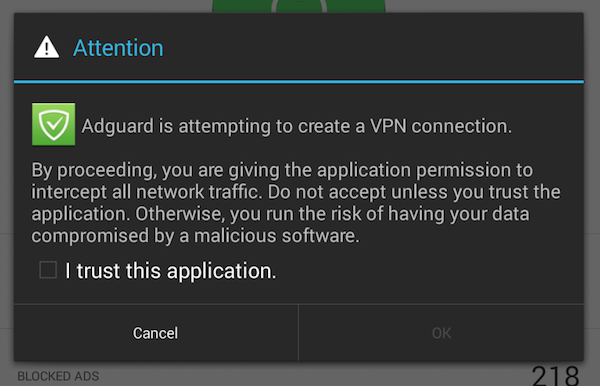 VPN enabling confirmation