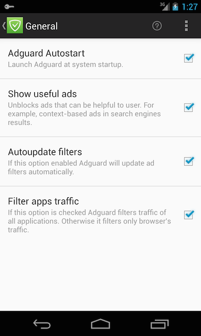 Adguard for Android. General settings.